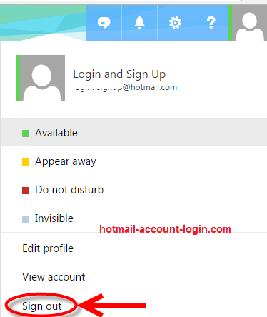 hotmail log out 1