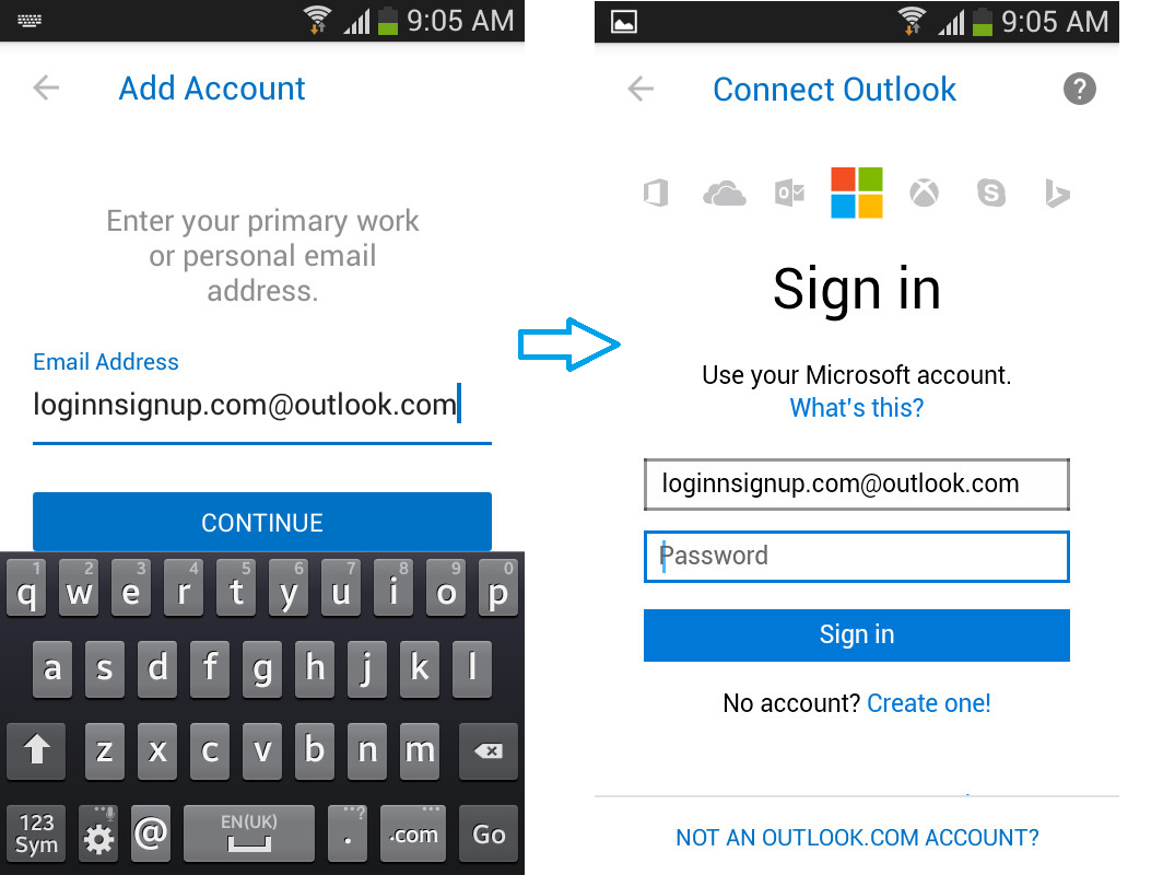 hotmail login for android 1